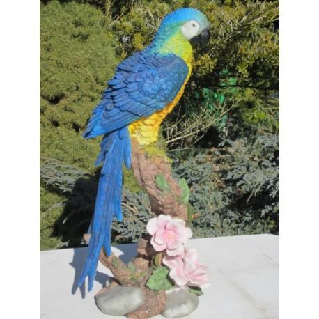 Réplique perroquet Ara résine, taille réelle.
