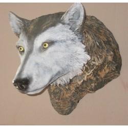 Trophée mural loup en résine, taille réelle